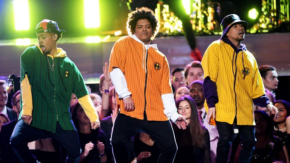 Bruno Mars performs at the 2018 Grammys