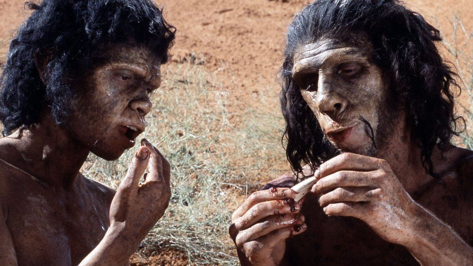 A couple eating 1,500,000 years ago.