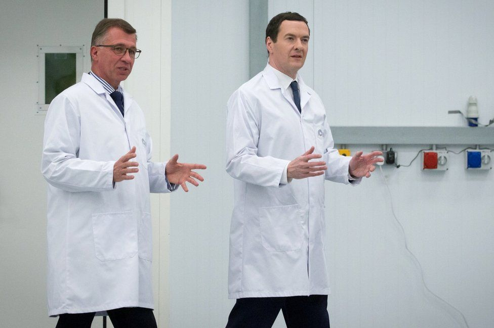 Chancellor of the Exchequer George Osborne is given a tour of the National Composites Centre at the Bristol and Bath Science Park