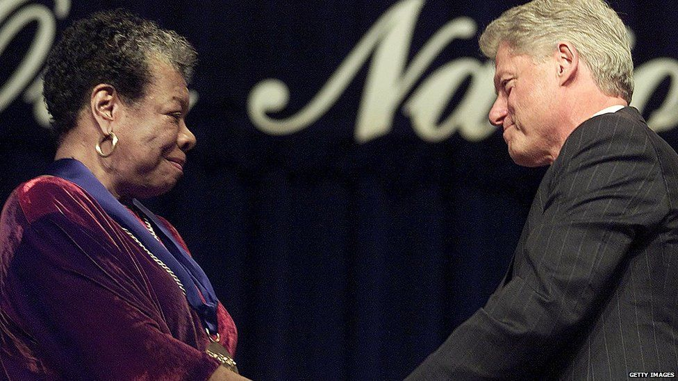 Dr Maya Angelou with former US President Bill Clinton