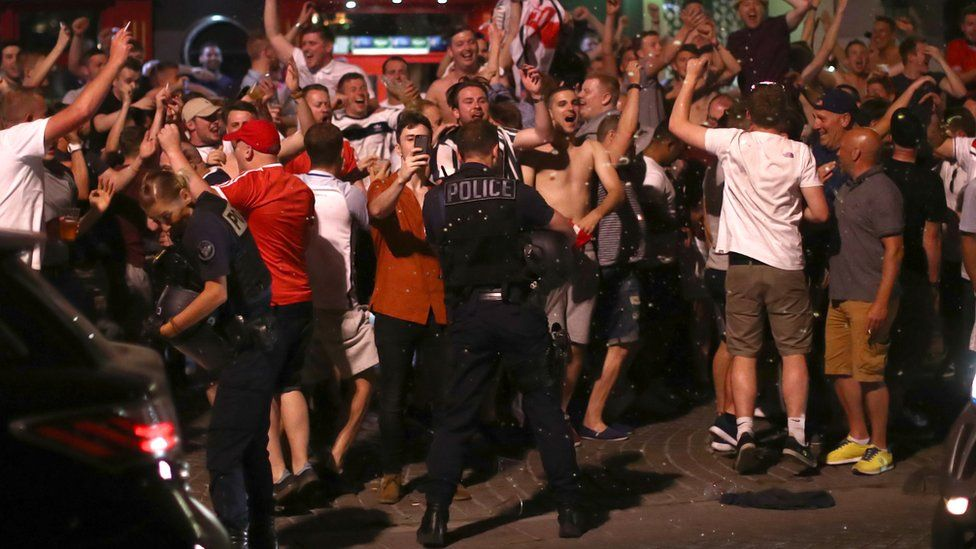 England fans and police