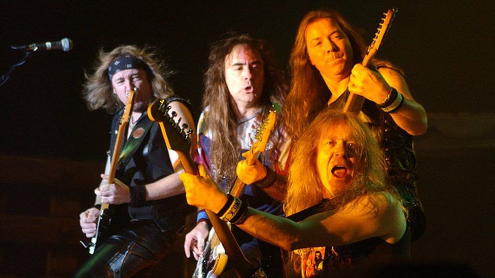 Iron Maiden members - Adrian Smith, Steve Harris, Dave Murray, Janick Gers