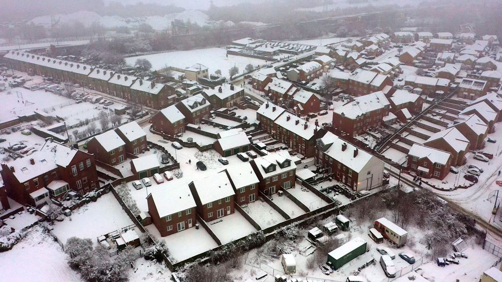 Aerial view of snow in East Ardsley, West Yorkshire, 14 January 2021
