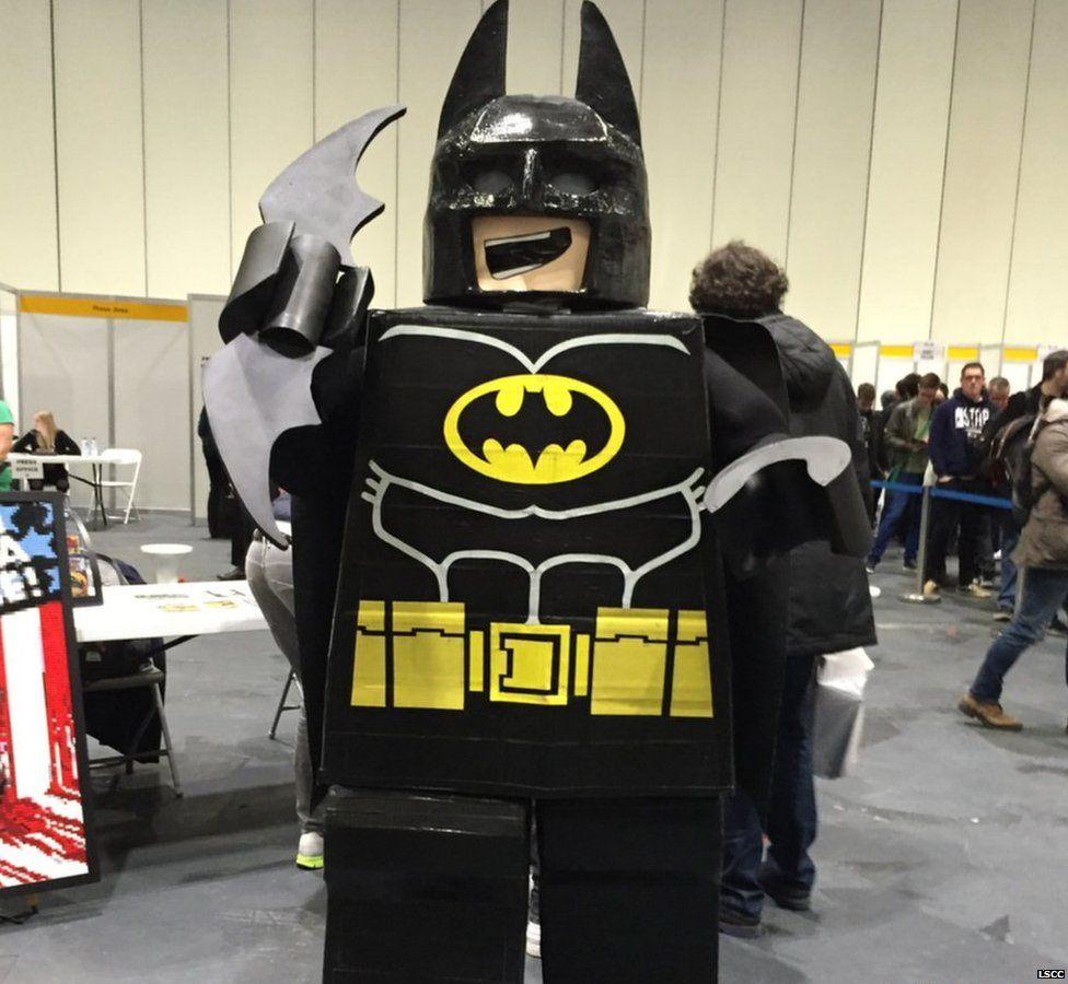 A fan dressed as Lego Batman