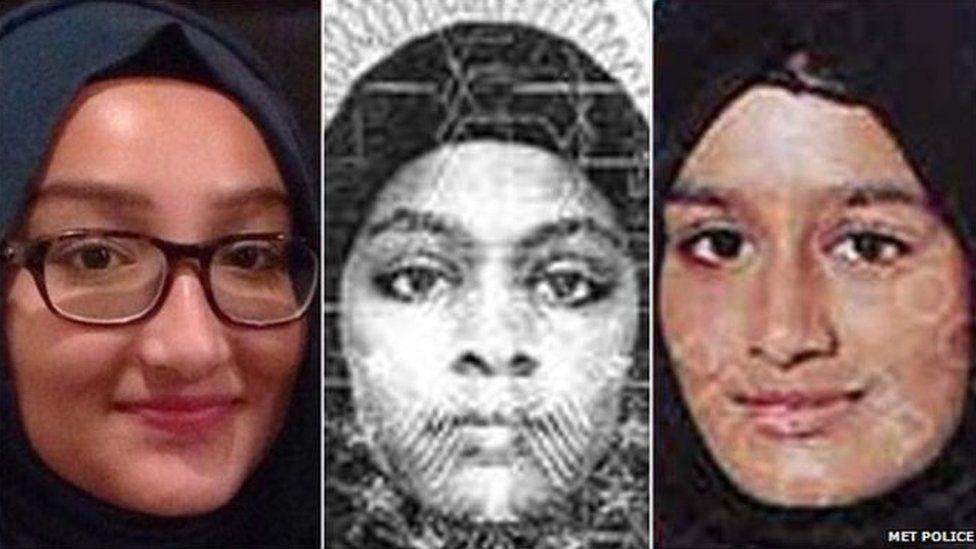 From left: Kadiza Sultana, Amira Abase and Shamima Begum left the UK to travel to Syria in February