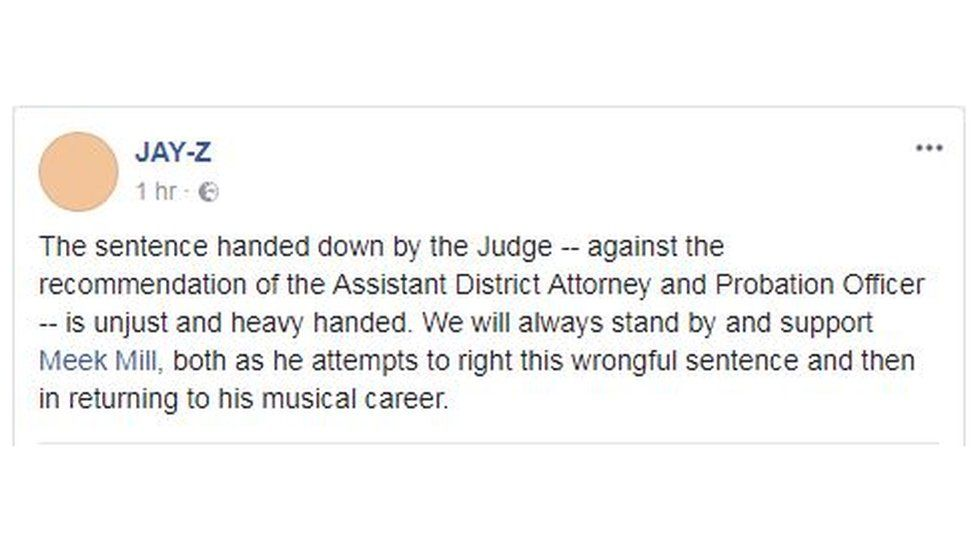 "Jay-Z post on Facebook calling the sentence ""unjust and heavy handed"""
