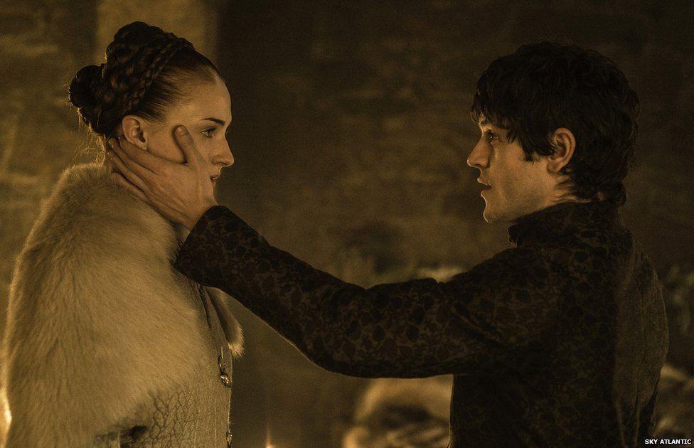 Sophie Turner as Sansa Stark and Iwan Rheon as Ramsay Bolton