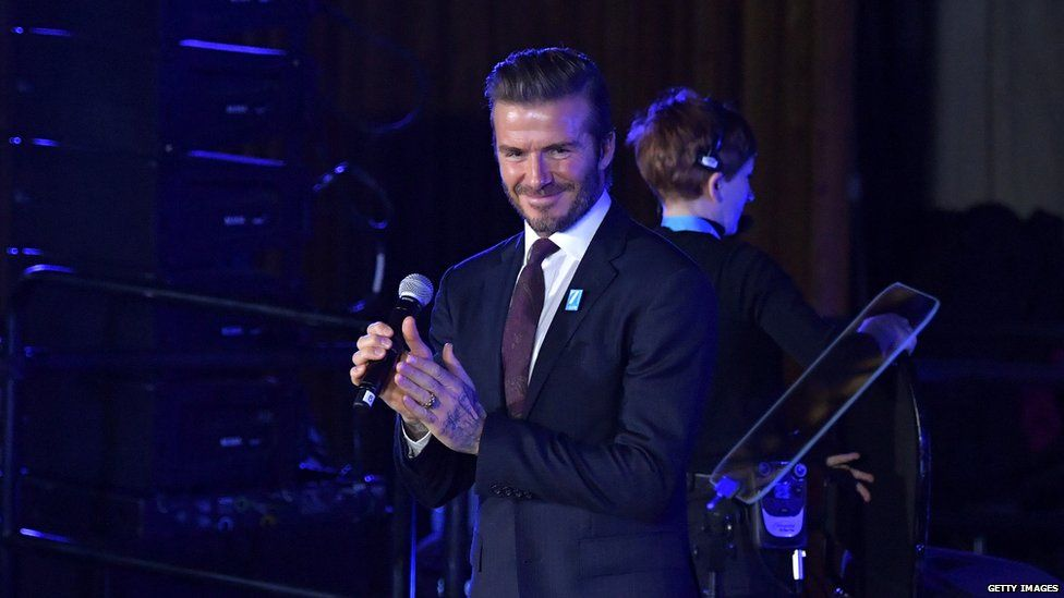 David Beckham reacts during UNICEF's 70th Anniversary Event at United Nations Headquarters