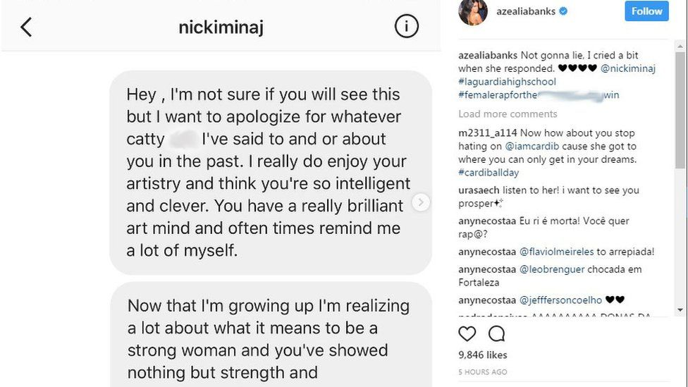 Beef Squashed: Read Azealia Banks' Apologetic DM She Sent To Nicki Minaj