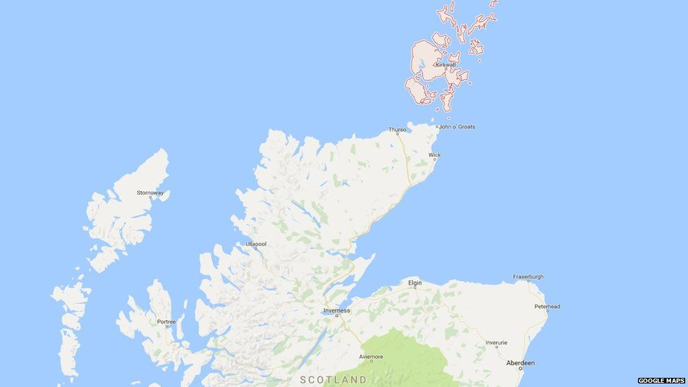 The islands of Orkney, off the coast of Scotland, on Google maps