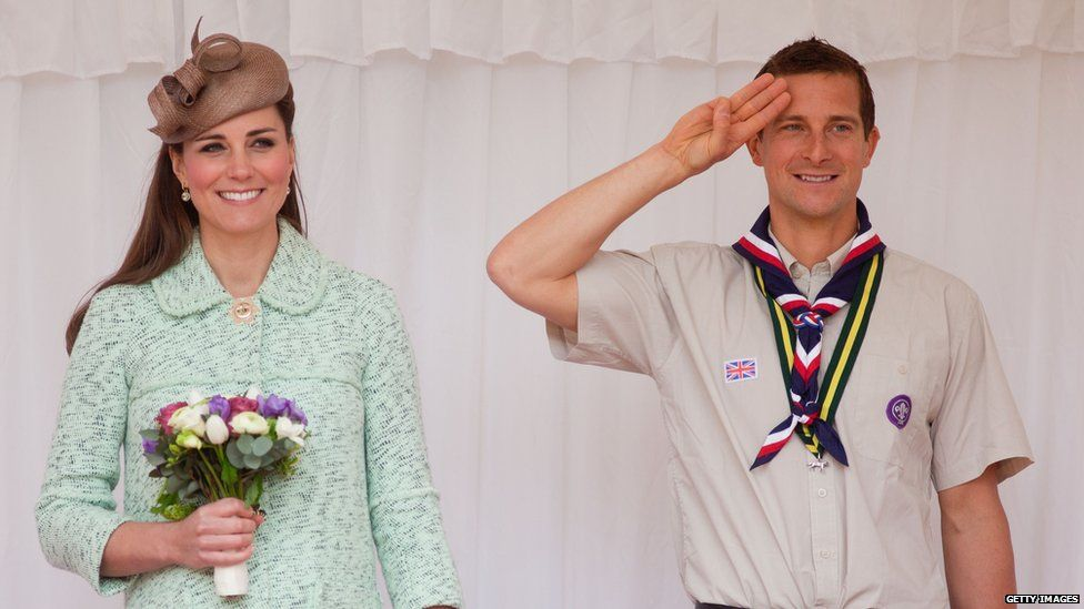 Chief scout Bear Grylls with Catherine, Princess of Cambridge