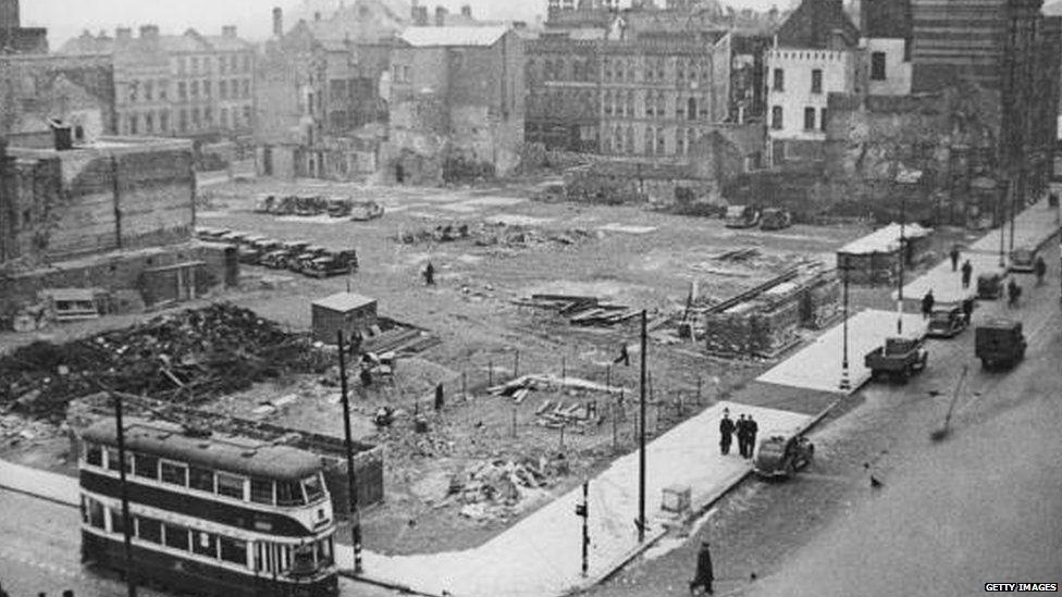 Bomb damage in Belfast during World War II