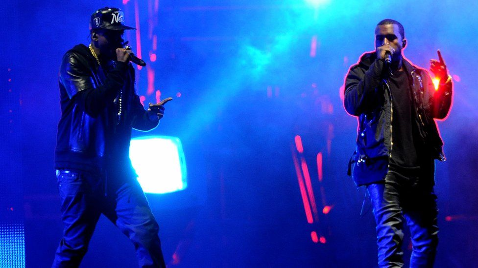 Jay Z and Kanye West at Radio 1's Hackney Weekend in 2012