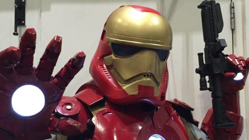 A fan dressed as an Iron Trooper