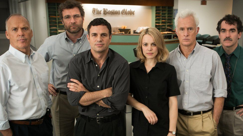 Michael Keaton, Liev Schreiber, Mark Ruffalo, Rachel McAdams, John Slattery and Brian d'Arcy James on the set of Spotlight the movie