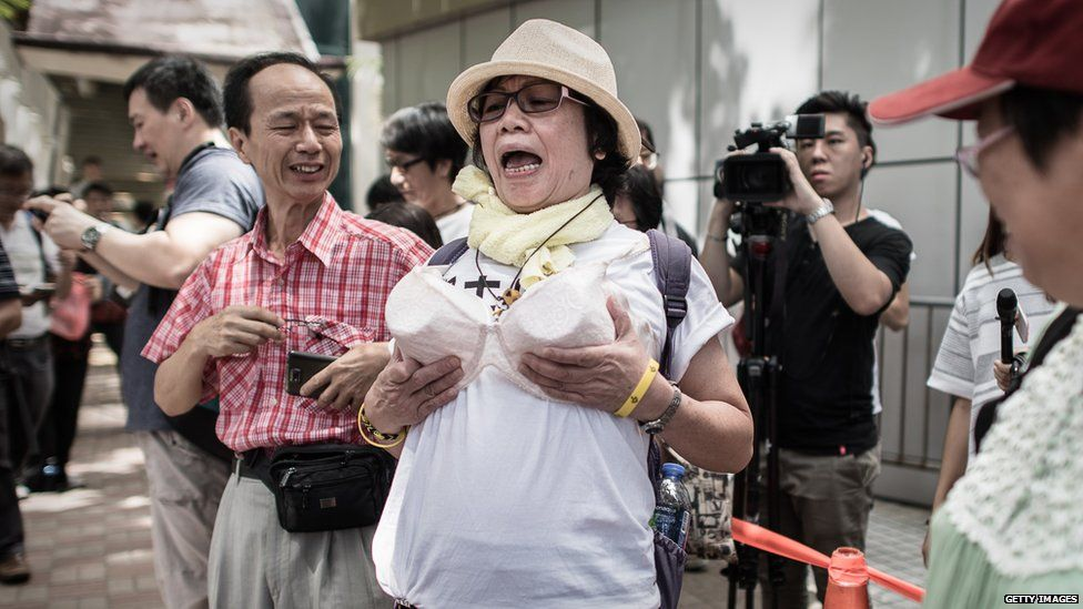 Protest over 'breast as weapon' conviction: Hong Kong Bra Protest