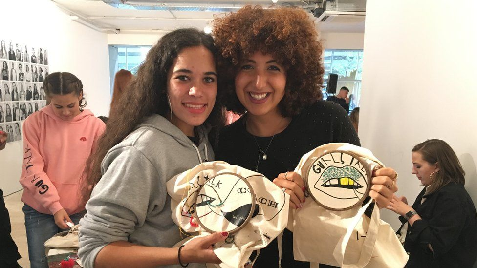 Umi and Hodaya customised their Gurls Talk bags with embroidery
