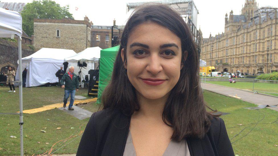 Sophie outside parliament