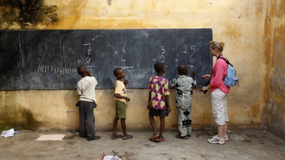 School kids and their teacher in Togo