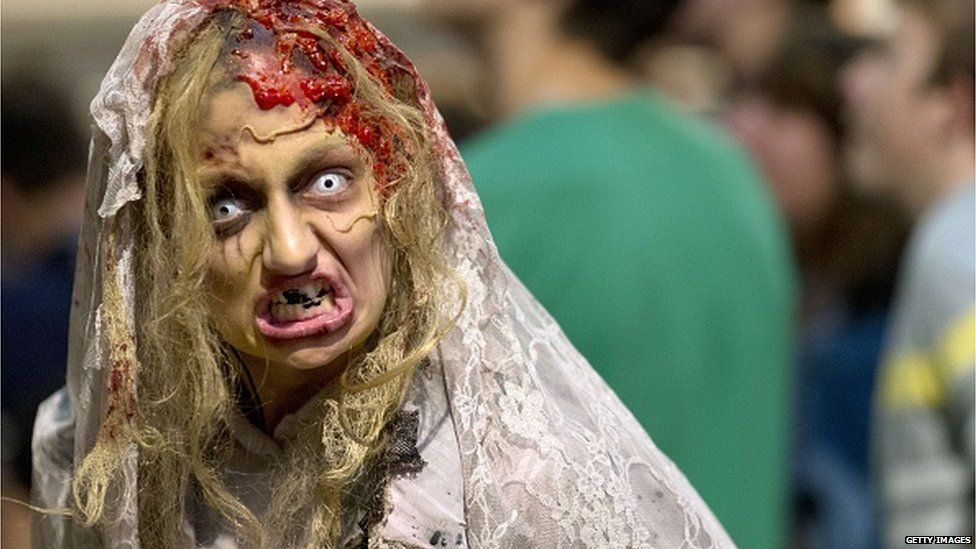 Girl dressed as zombie