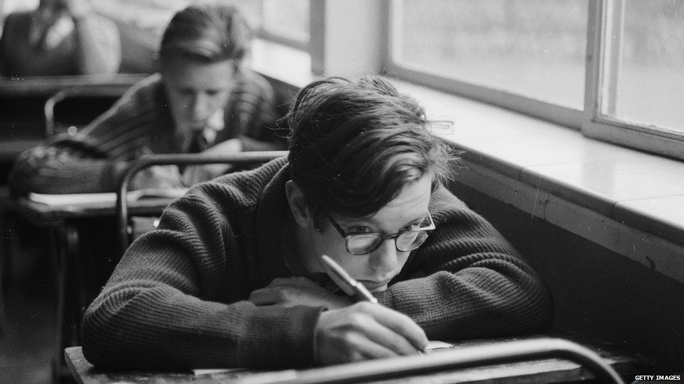 Boys sitting exams in in the early 1960s