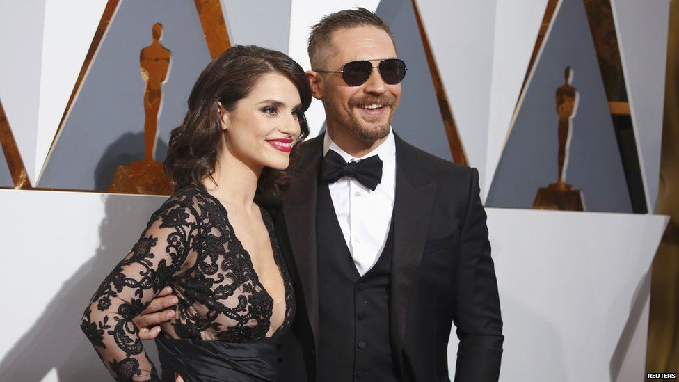 Tom Hardy with wife Charlotte Riley at the Oscars