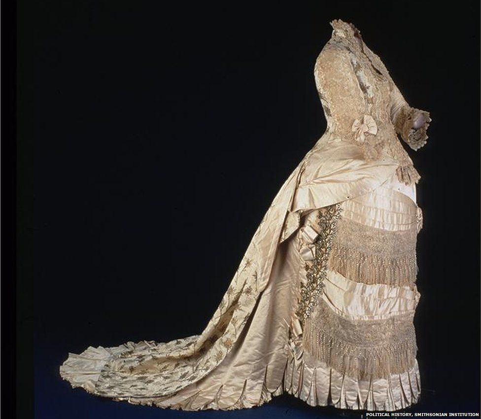 A dress worn by Lucy Hays in 1880