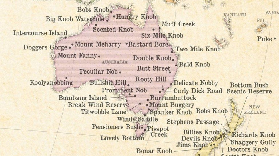 Australia Map Rude Names.This Map Shows The Rudest Place Names In The World Bbc Newsbeat