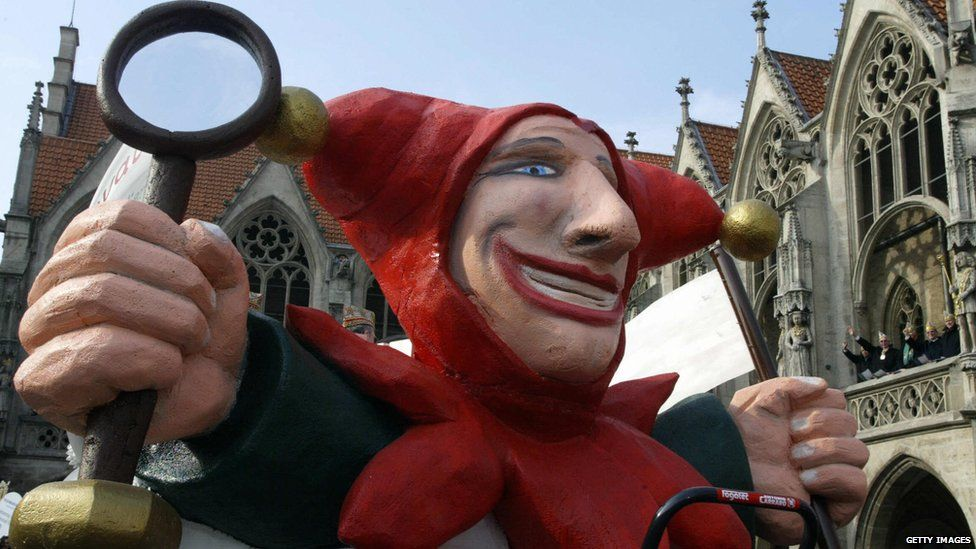A huge puppet of a medieval jester
