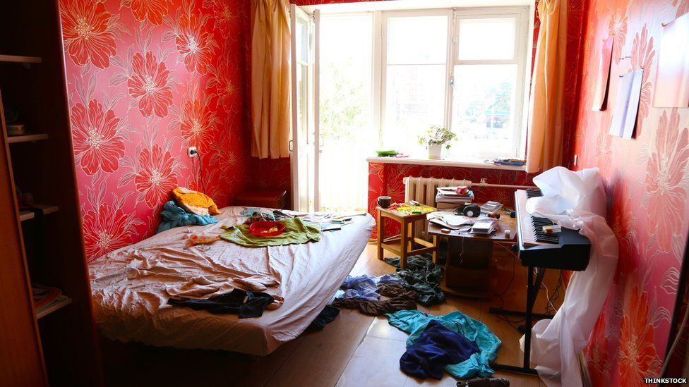 A messy student room