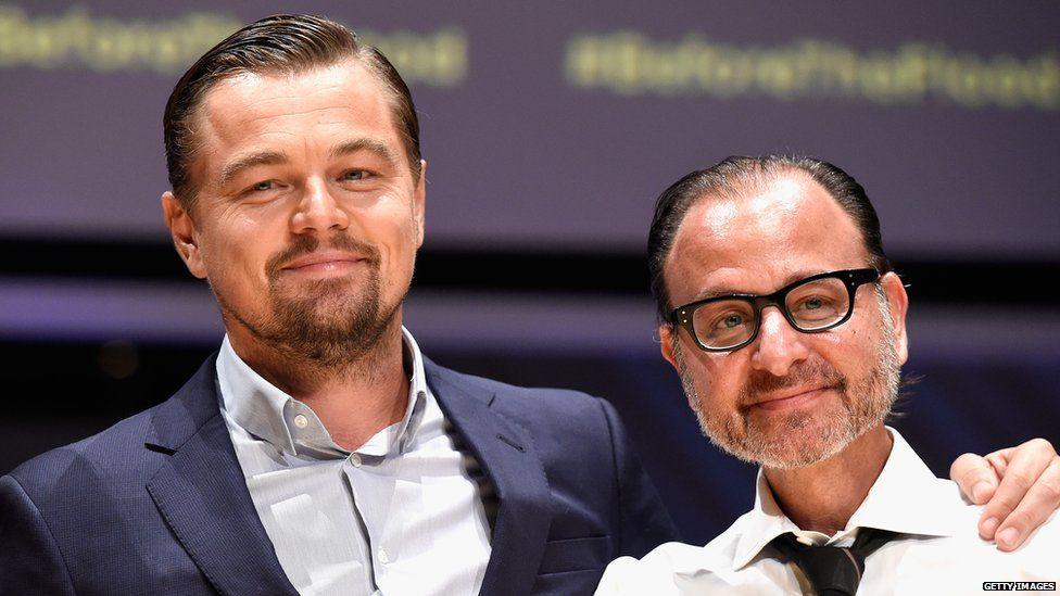 Leonardo DiCaprio and Fisher Stevens