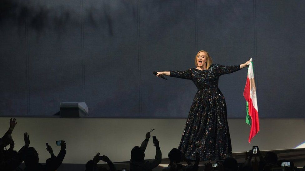 Adele on stage in Mexico