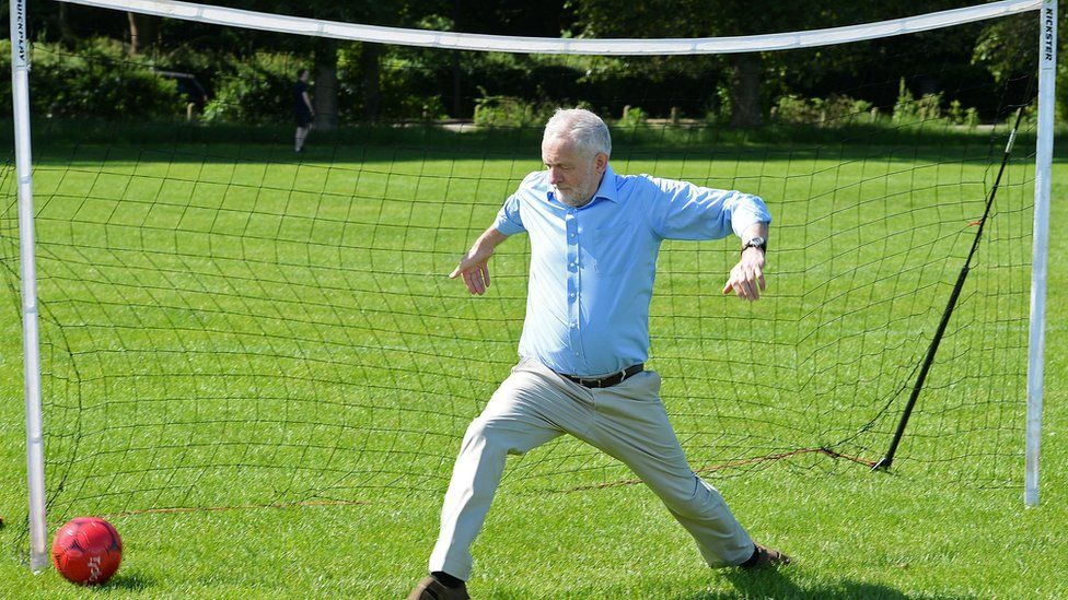 Picture of Jeremy Corbyn playing football