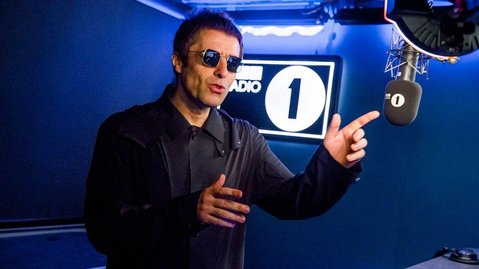 Liam Gallagher in the BBC Radio 1 studio