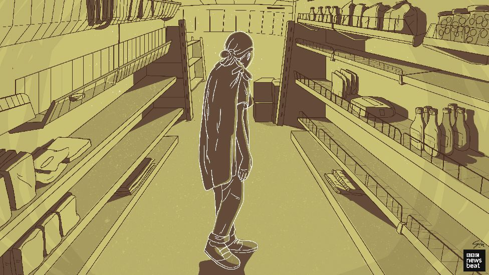 Illustration of a girl in a shop with bare shelves