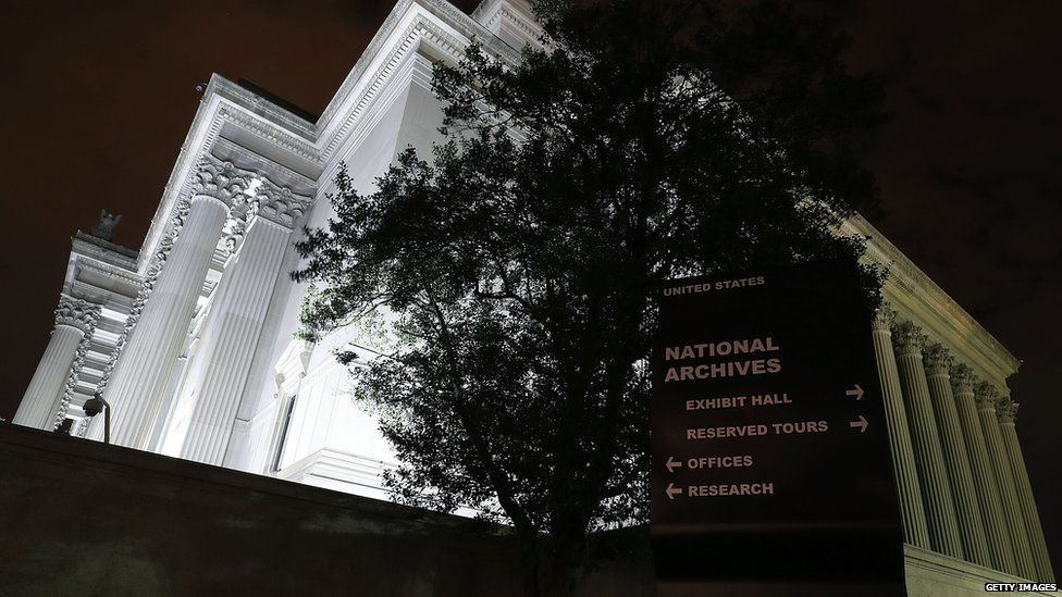 The national archives building in the US