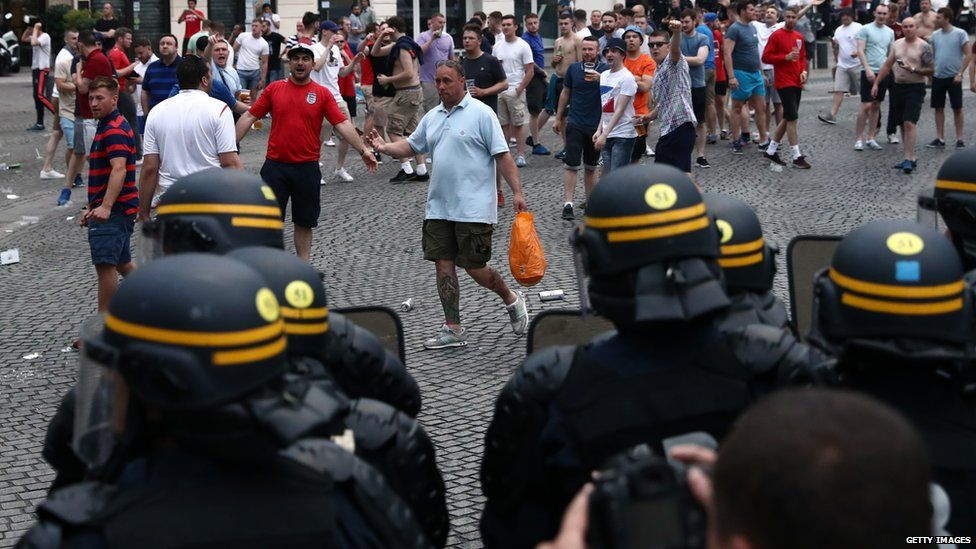 A group of England fans in Marseille have had tear gas used on them by French police for a second night running.
