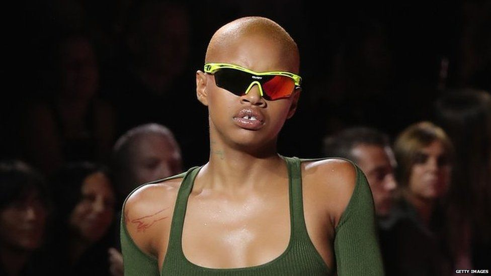 Slick Woods modelling for Rihanna's Fenty range at New York Fashion Week in September