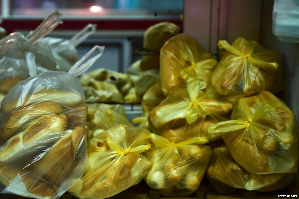 Bags of bread in a Caracas bakery