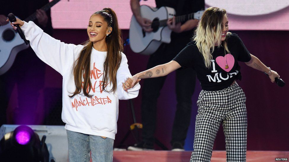 Ariana Grande gets emotional as she closes One Love Manchester concert