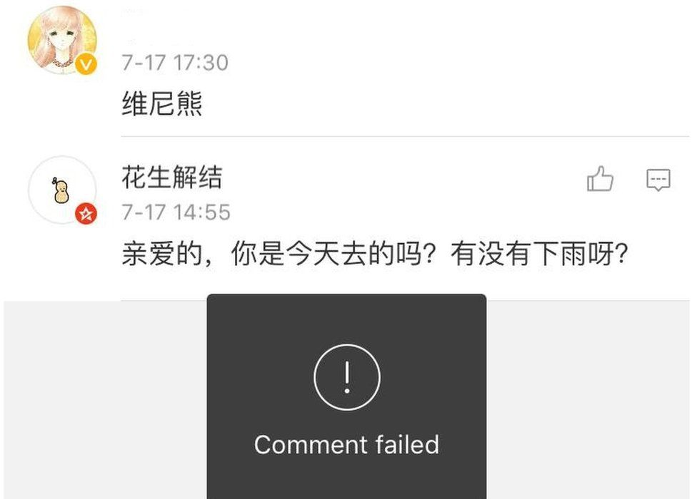 What happens when you try to reference Winnie the Pooh on Weibo