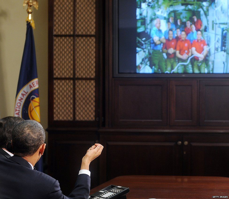 Obama on a video call to the ISS