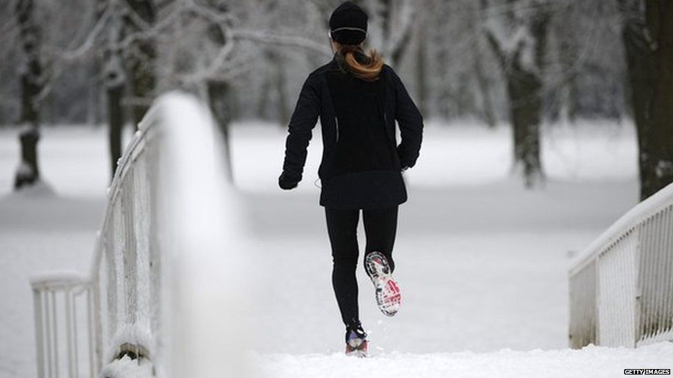Jogging in the snow