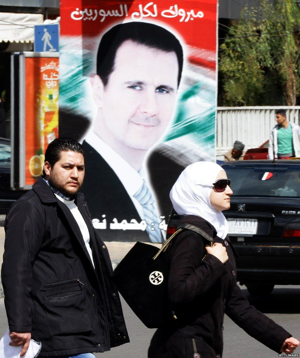 A poster of President Assad in Damascus