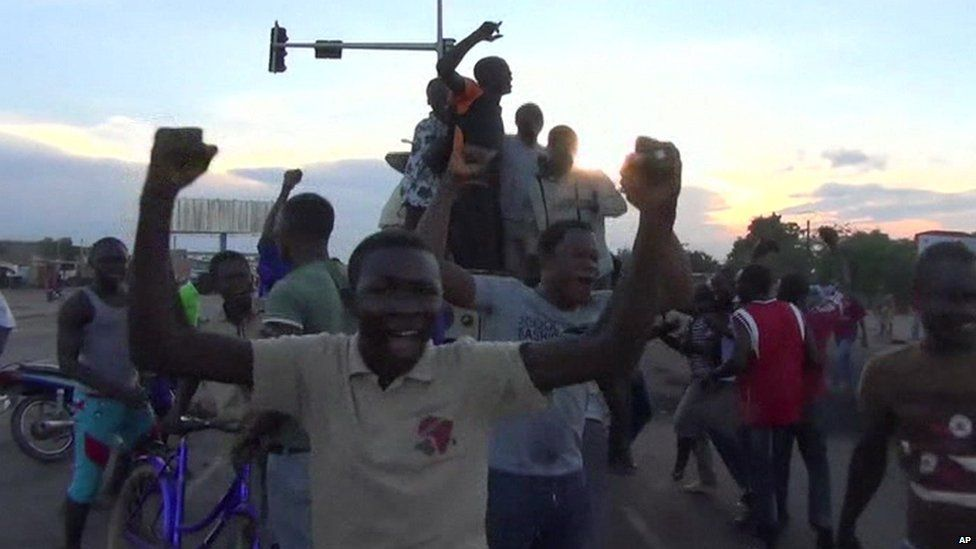 Anti-coup protesters celebrate in Burkina Faso's capital Ouagadougou