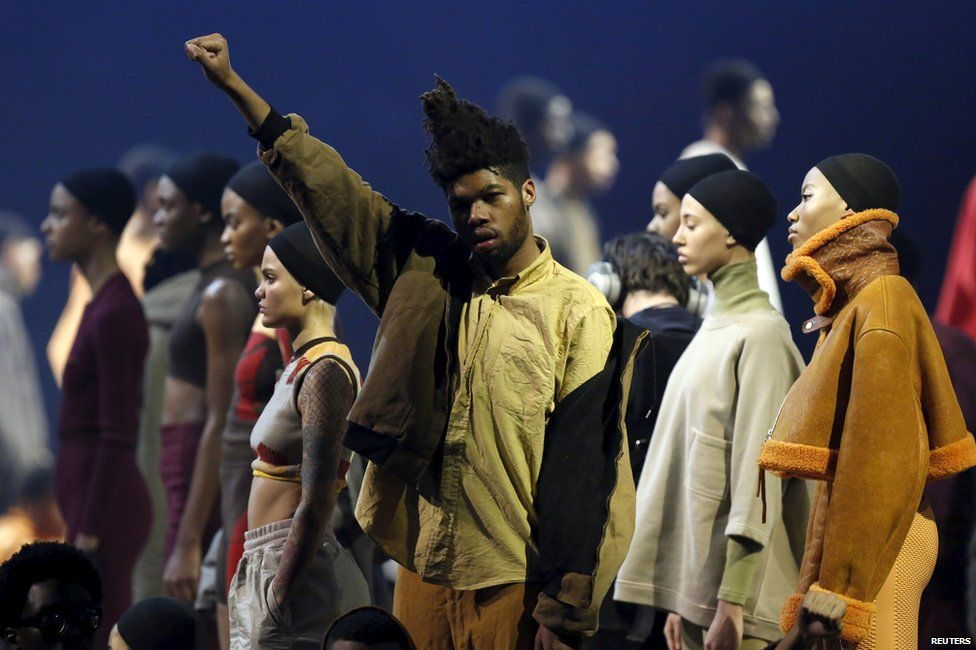 Models present creations at Kanye West's Yeezy Season 3 Collection presentation and listening party for the The Life of Pablo album during New York Fashion
