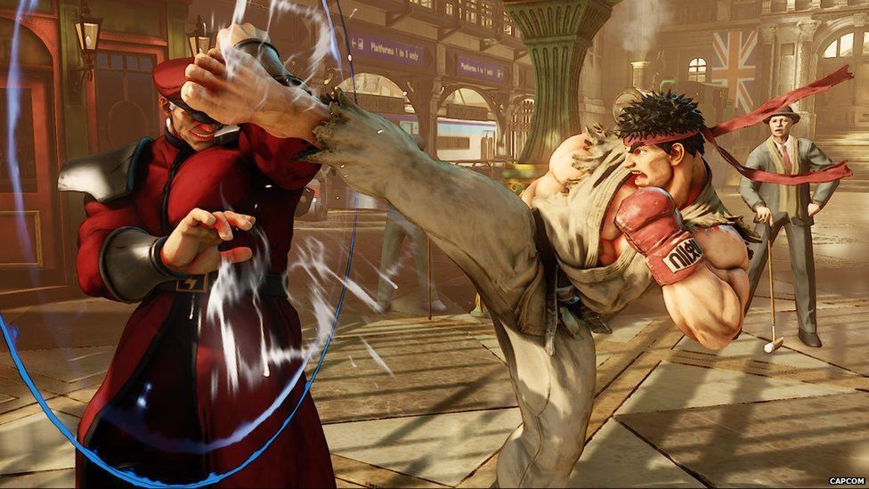 Street Fighter V game play - Ryu kicks M Bison