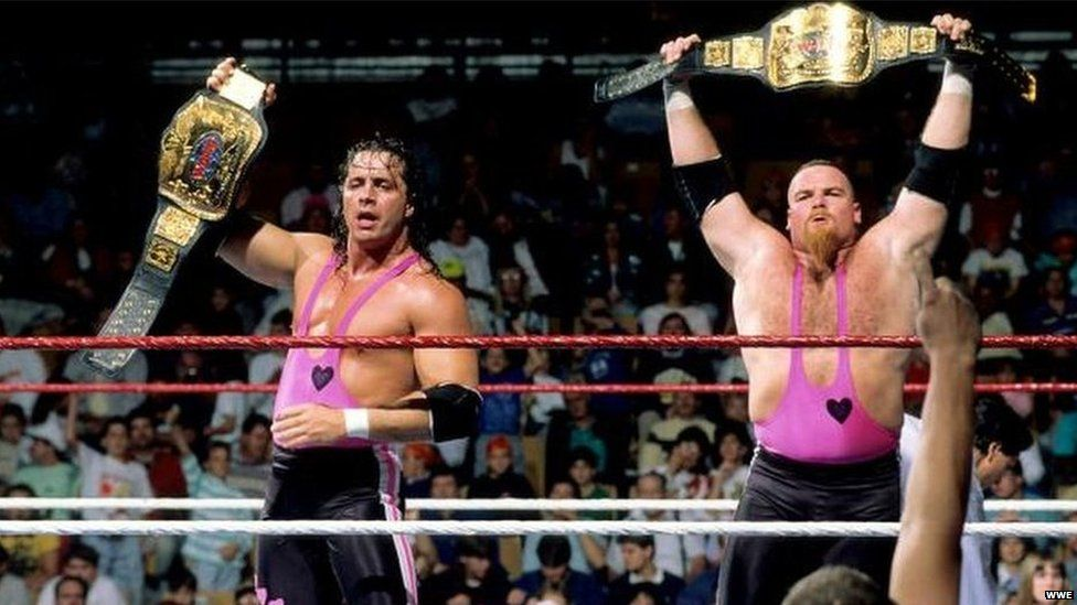 Bret Hart with his brother in law Jim 'the anvil' Neidhart in the ring