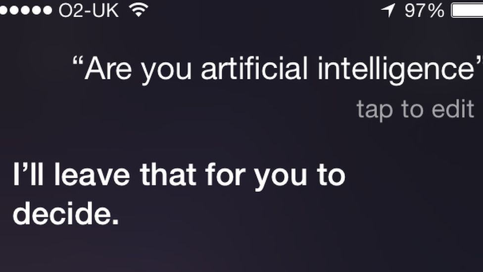 We asked Siri if she thought she was Artificial Intelligence