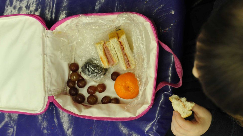 Child eating packed lunch